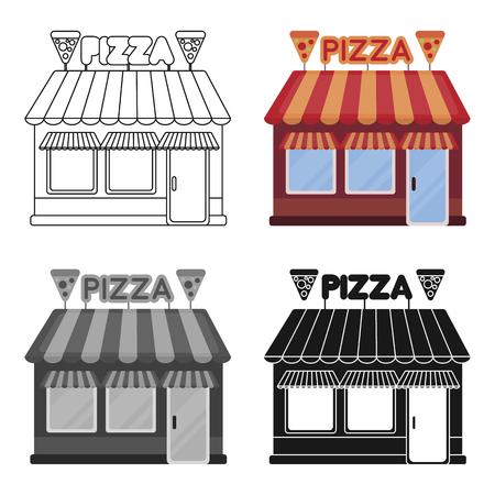 白い背景で隔離の漫画スタイルのピッツェリア アイコン。ピザ、ピザ屋のシンボル株式ベクトル イラスト。
