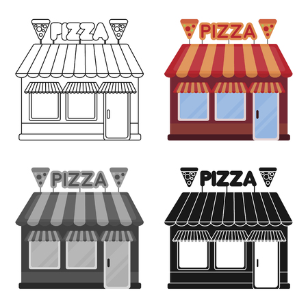 small town: Pizzeria icon in cartoon style isolated on white background. Pizza and pizzeria symbol stock vector illustration.