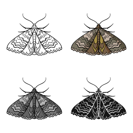 Moth icon in cartoon style isolated on white background. Insects symbol stock vector illustration. Illustration