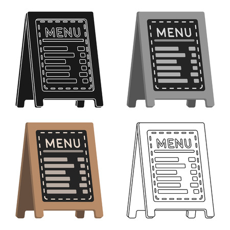 Menu of pizzeria icon in cartoon style isolated on white background. Pizza and pizzeria symbol vector illustration.