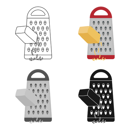 metal grate: Grating cheese icon in cartoon style isolated on white background. Pizza and pizzeria symbol stock vector illustration. Illustration