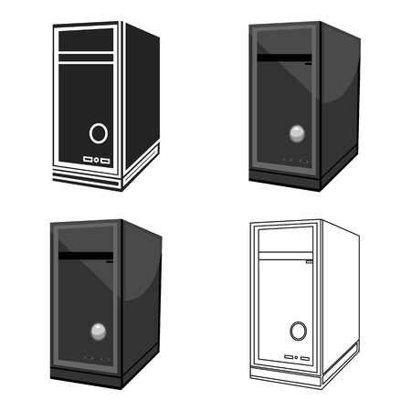 System unit icon in cartoon style isolated on white background. Personal computer symbol stock vector illustration.