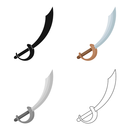 Pirate sabre icon in cartoon style isolated on white background. Pirates symbol stock vector illustration.