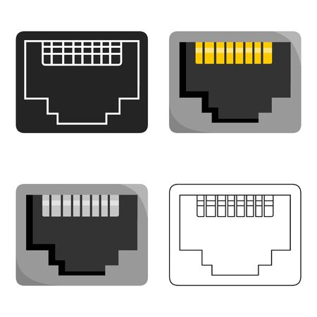 lan: LAN port icon in cartoon style isolated on white background. Personal computer symbol stock vector illustration.
