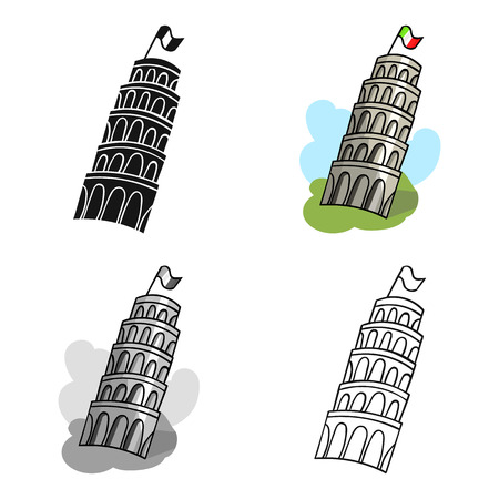 leaning tower of pisa: Tower of Pisa in Italy icon in cartoon style isolated on white background. Italy country symbol vector illustration.