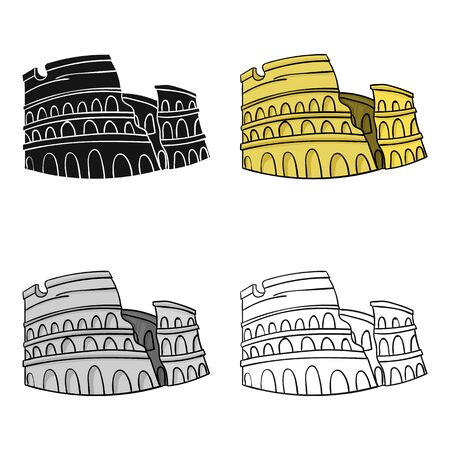 flavian: Colosseum in Italy icon in cartoon style isolated on white background. Italy country symbol stock vector illustration.
