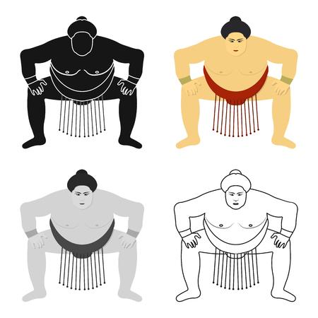 Sumo wrestler icon in cartoon style isolated on white background. Japan symbol stock vector illustration.