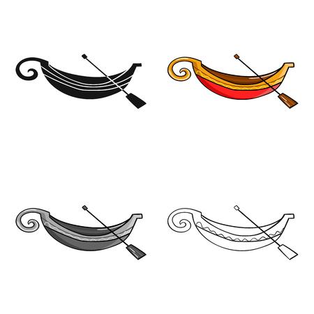 Italian gondola icon in cartoon style isolated on white background. Italy country symbol stock vector illustration.