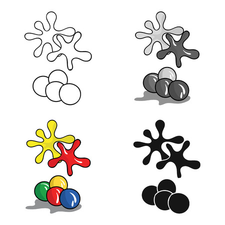 colors paint: Balls for paintball icon in cartoon style isolated on white background. Paintball symbol stock vector illustration. Illustration