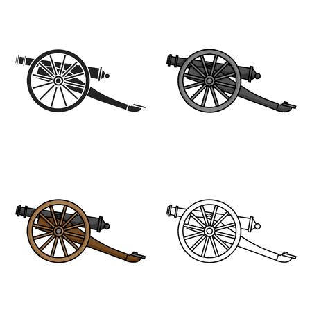 Icono de cañón en estilo de dibujos animados aislado sobre fondo blanco. Símbolo del museo stock ilustración vectorial.