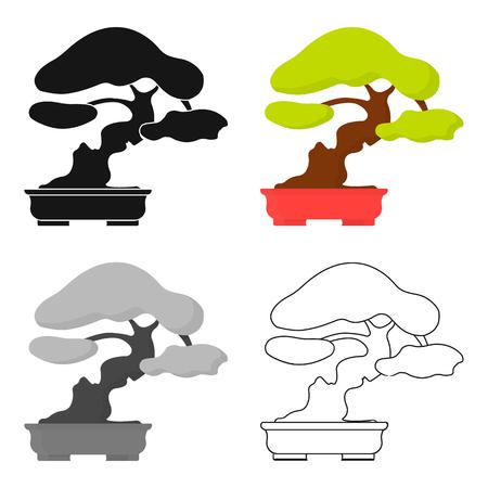 asian gardening: Bonsai icon in cartoon style isolated on white background. Japan symbol stock vector illustration.