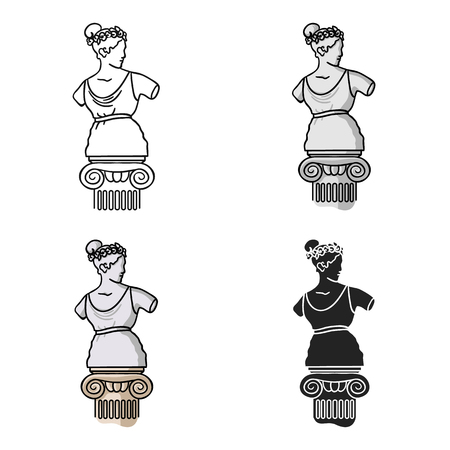 afrodita: Statue icon in cartoon style isolated on white background. Museum symbol vector illustration.