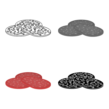 Salami icon in cartoon style isolated on white background. Meats symbol stock vector illustration