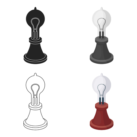 Edisons lamp icon in cartoon style isolated on white background. Light source symbol stock vector illustration