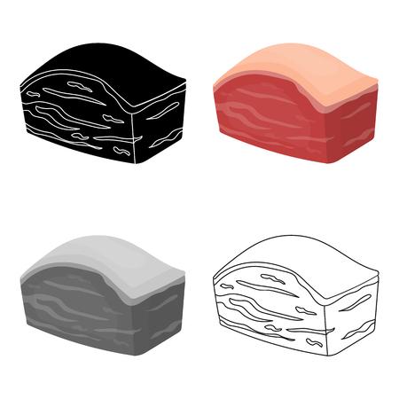 Wieprzowa ikona brzucha w stylu kreskówki na białym tle. Symbol mięsa ilustracji wektorowych czas