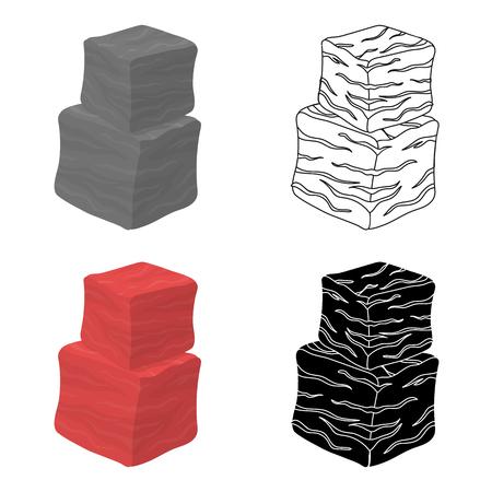 En cubitos icono de carne de vacuno en estilo de dibujos animados aislado en el fondo blanco. Carnes símbolo ilustración stock de vectores Foto de archivo - 76599728