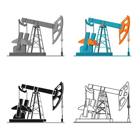 Oil pumpjack icon in cartoon style isolated on white background. Oil industry symbol stock vector illustration. Illustration