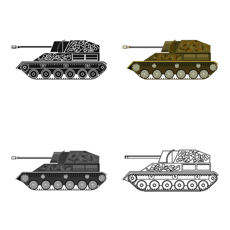 Military tank icon in cartoon style isolated on white background. Military and army symbol stock vector illustration Illustration