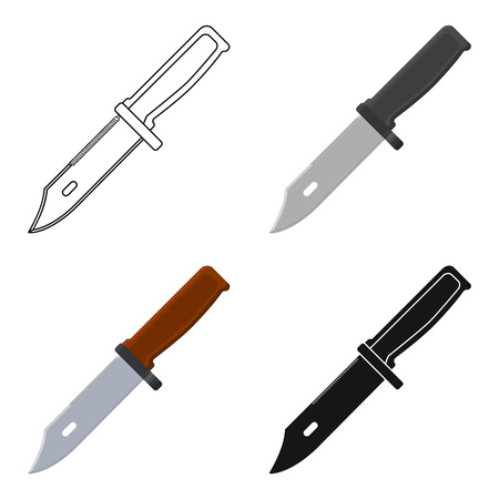 Military combat knife icon in cartoon style isolated on white background. Military and army symbol stock vector illustration