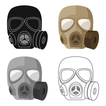 poison: Army gas mask icon in cartoon style isolated on white background. Military and army symbol stock vector illustration Illustration