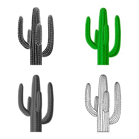 Mexican cactus icon in cartoon style isolated on white background. Mexico country symbol stock vector illustration.
