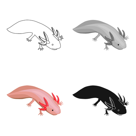 Mexican axolotl icon in cartoon style isolated on white background. Mexico country symbol stock vector illustration.