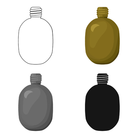 hydrate: Army canteen icon in cartoon style isolated on white background. Military and army symbol stock vector illustration