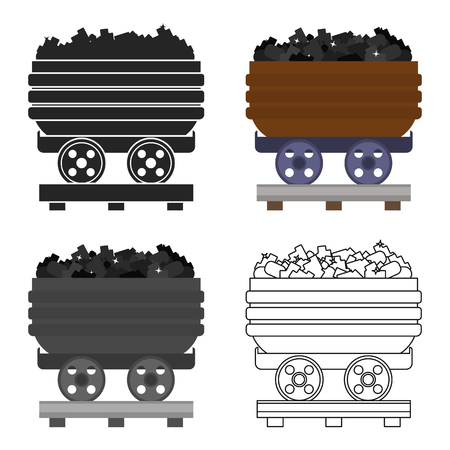 Minecart icon in cartoon style isolated on white background. Mine symbol stock vector illustration.