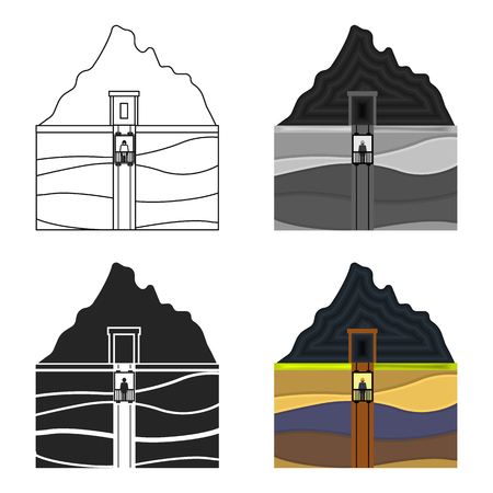 Mine shaft icon in cartoon style isolated on white background. Mine symbol stock vector illustration. Illustration