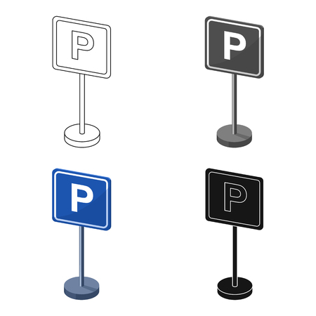 regulate: Parking sign icon in cartoon style isolated on white background. Parking zone symbol stock vector illustration.