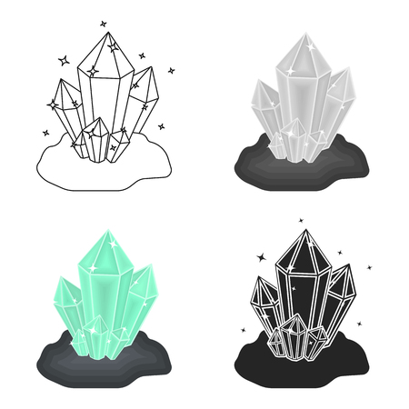 priceless: Crystals icon in cartoon style isolated on white background. Mine symbol stock vector illustration.