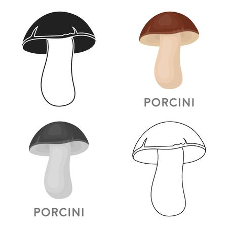Porcini icon in cartoon style isolated on white background. Mushroom symbol stock vector illustration.