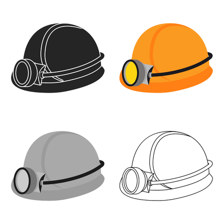 Miners helmet icon in cartoon style isolated on white background. Mine symbol stock vector illustration.