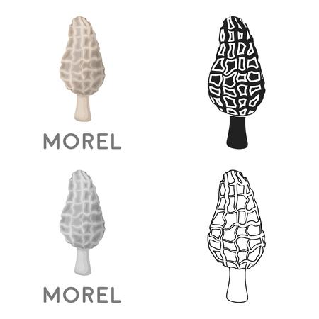 Morel icon in cartoon style isolated on white background. Mushroom symbol stock vector illustration. Illustration