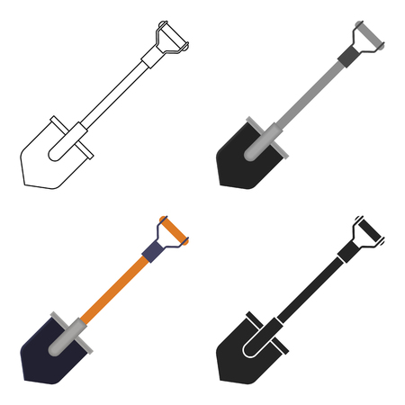 Shovel icon in cartoon style isolated on white background. Mine symbol stock vector illustration.