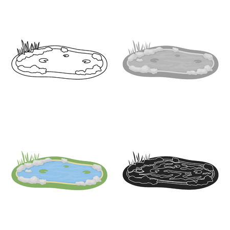 Pond icon in cartoon style isolated on white background. Park symbol stock vector illustration.