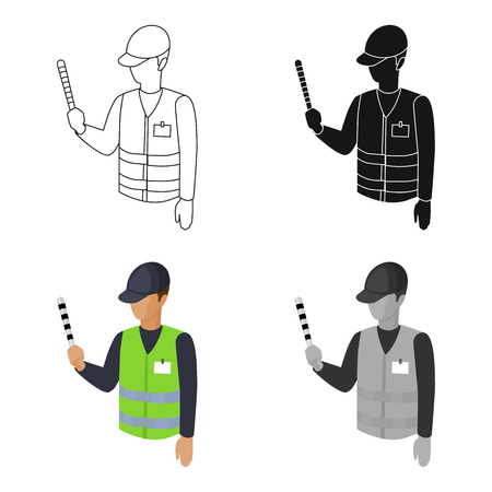 Parking attendant icon in cartoon style isolated on white background. Parking zone symbol stock vector illustration.
