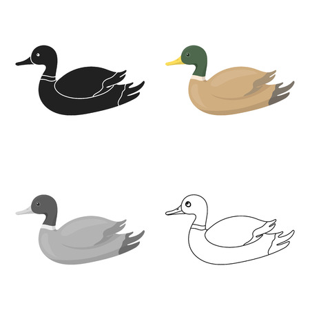 Duck icon in cartoon style isolated on white background. Hunting symbol stock vector illustration.