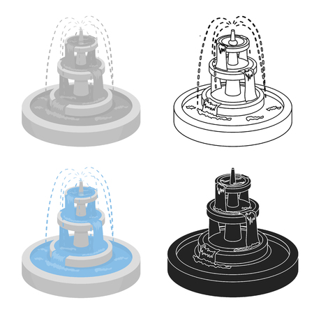 Fountain icon in cartoon style isolated on white background. Park symbol stock vector illustration. Ilustrace
