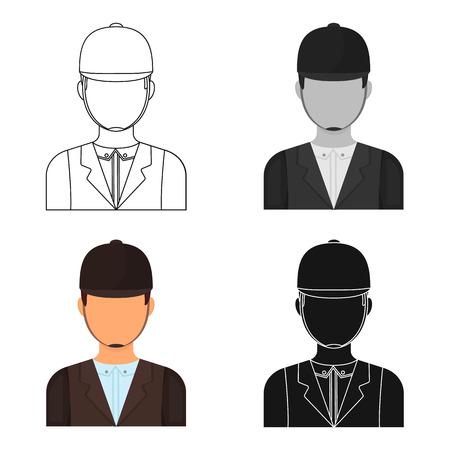 Jockey icon in cartoon style isolated on white background. Hippodrome and horse symbol stock vector illustration. Illustration