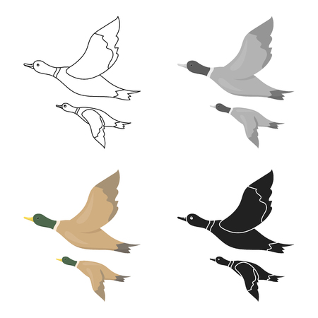 drake: Ducks icon in cartoon style isolated on white background. Hunting symbol stock vector illustration.