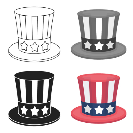 Uncle Sams hat icon in cartoon style isolated on white background. Patriot day symbol stock vector illustration. Illustration