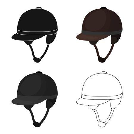 hippodrome: Jockeys helmet icon in cartoon style isolated on white background. Hippodrome and horse symbol stock vector illustration.