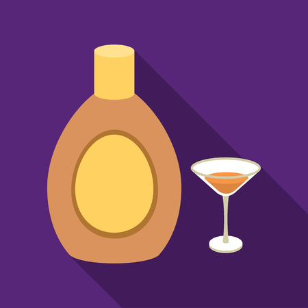 bleb: Chocolate liqueur icon in flat style isolated on white background. Alcohol symbol stock vector illustration.
