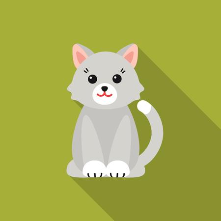 Cat flat icon. Illustration for web and mobile design. Illustration