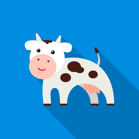 udders: Cow flat icon. Illustration for web and mobile design.