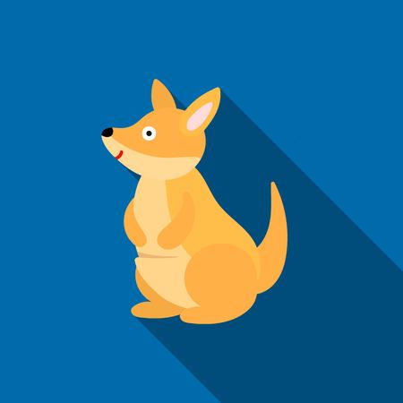 joey: Kangaroo icon flat. Singe animal icon from the big animals flat.