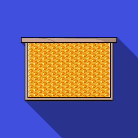 comb: Frame with honeycomb icon in flat style isolated on white background. Apiary symbol stock vector illustration