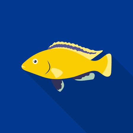 Cichlid hummingbird fish icon flat. Singe aquarium fish icon from the sea,ocean life flat.