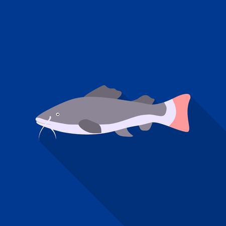 Phractocephalus hemioliopterus fish icon flat. Singe aquarium fish icon from the sea,ocean life flat. Illustration